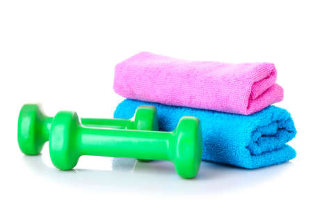 Dumbbells and towels Stock Photo - 9371070
