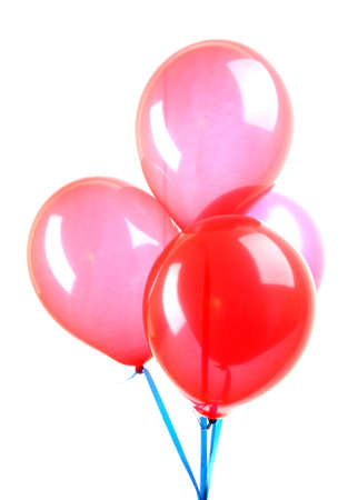 Flying balloons isolated on white photo