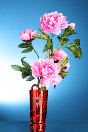 Pink flowers in a vase photo