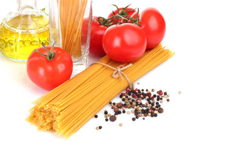 Pasta spaghetti with tomatoes, olive oil and basil on a white background Stock Photo - 9473575
