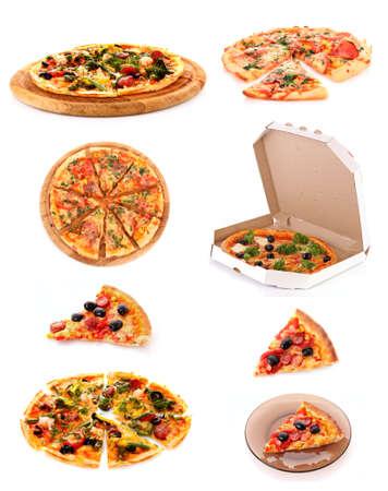pizza: Conjunto de sabrosa pizza italiana sobre blanco