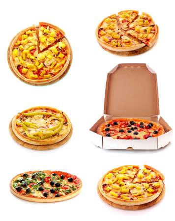 Set of tasty Italian pizza over white photo