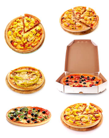 Set of tasty Italian pizza over white Stock Photo - 9473597