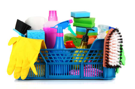 plastic glove: Cleaning supplies in basket on white background Stock Photo