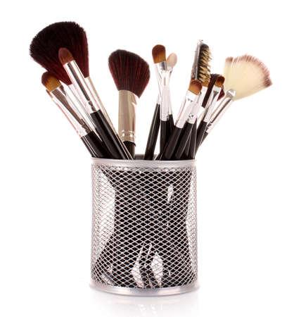kosmetik: Kosmetik Pinsel in Tasse wei�