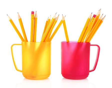 Many colorful pencils in the cup  on the white background Stock Photo - 9520396
