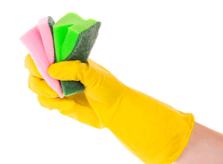 hand wearing a working glove and holding big sponge photo