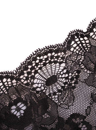 black lace: Lace closeup isolated on white Stock Photo