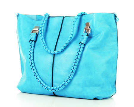 Blue women bag isolated on white background Stock Photo - 9683755