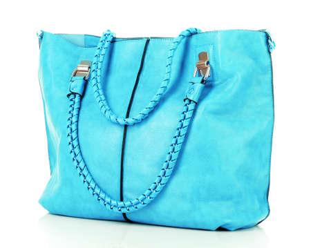 Las mujeres azules bolsa aislado sobre fondo blanco