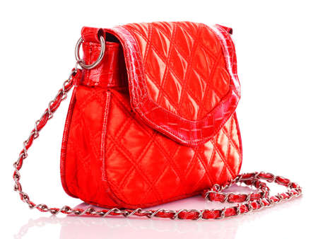 Red women bag isolated on white background photo