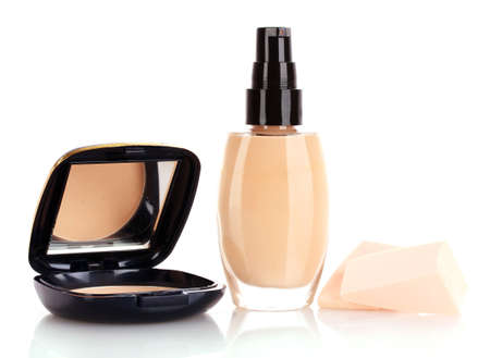 concealer: foundation, powder and sponge isolated on white Stock Photo