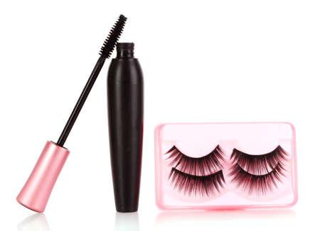 mascara: mascara and false eyelashes isolated on white Stock Photo