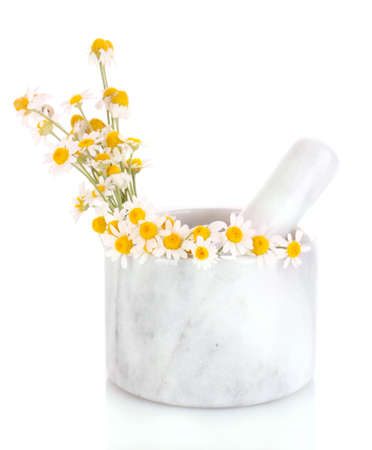 chamomile flowers in a mortar isolated on white Stock Photo - 9683840