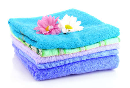 soft object: stacked colorful towels on a white background Stock Photo