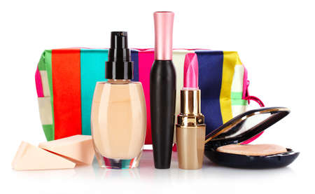 cosmetics bag: foundation, mascara, lipstick and powder isolated on white Stock Photo