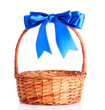 empty basket: basket with a blue bow isolated on white Stock Photo