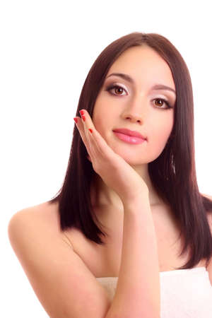 Beautiful young smiling woman with healthy skin and great teeth photo