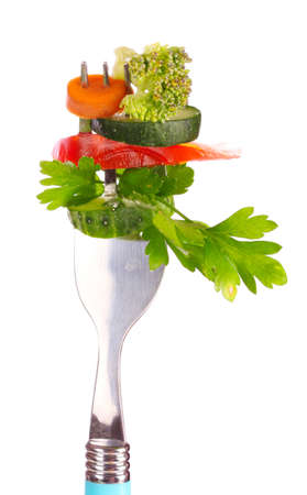 vegetables on fork isolated on white Stock Photo - 9784856