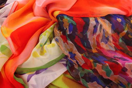 many bright beautiful fabrics photo