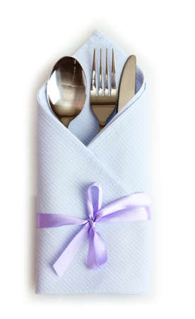 serviettes: cutlery and napkin isolated on white Stock Photo