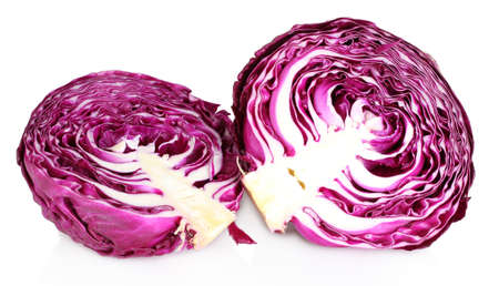 two and a half: beautiful red cabbage isolated on white