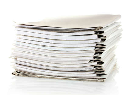 pile of documents: File folders on white background Stock Photo