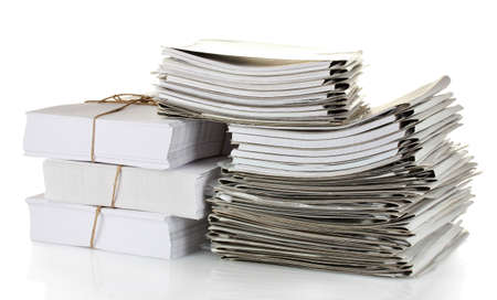 administrativo: File folders on white background Banco de Imagens