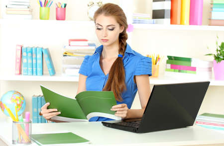 beautiful young girl in the office Stock Photo - 9887171