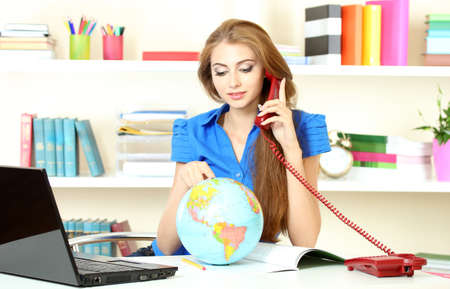 beautiful young girl in the office Stock Photo - 9887170