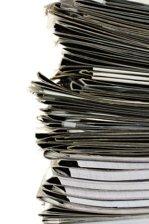 many gray folder isolated on white Stock Photo