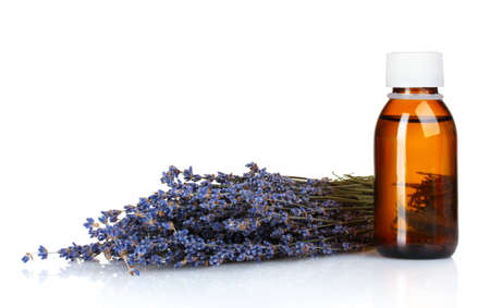 Beautiful lavender and medicine isolated on white photo
