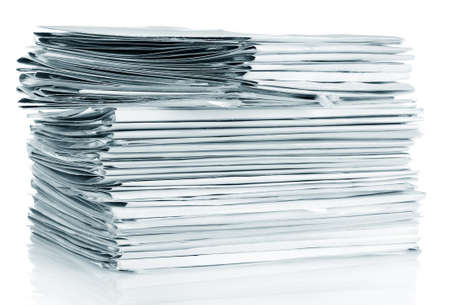 pile of papers: File folders on white background Stock Photo