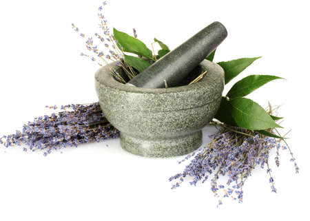 Beautiful lavender in a mortar isolated on white Stock Photo - 9999301