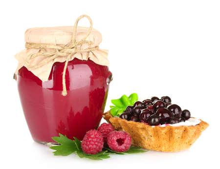 raspberry jelly: tasty raspberry jam and cake isolated on white