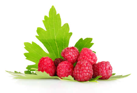 beautiful raspberries and leaves isolated on white photo