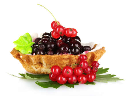 tasty cake with cream and currant isolated on white Stock Photo - 9999172