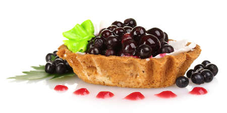 tasty cake with cream and blueberries isolated on white photo
