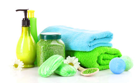 towels, soap and sea salt isolated on white photo