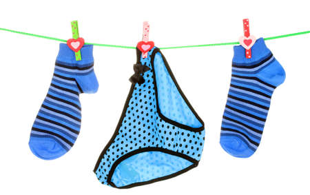 blue striped socks and underpants is isolated on a white photo