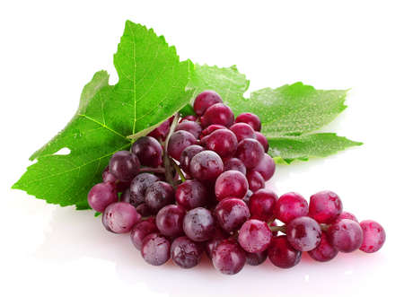 grapevine: Pink grape isolated on white