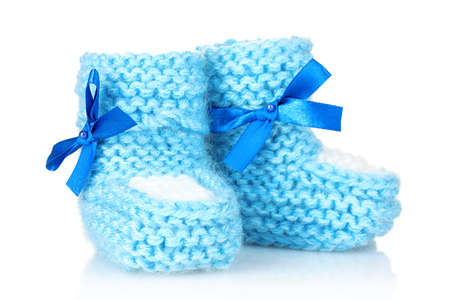 blue baby booties blue isolated on white Stock Photo - 9999209