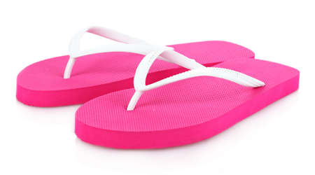 pink beach shoes isolated on white Stock Photo - 9999395