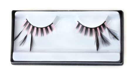 beautiful decorative eyelashes isolated on white photo