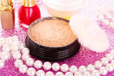 makeup powder on pink background Stock Photo - 9999241