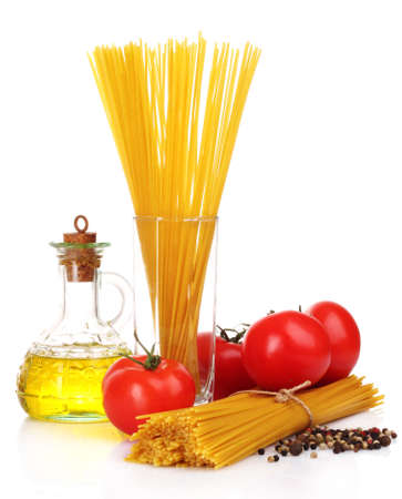Pasta spaghetti with tomatoes, olive oil and basil on a white background photo