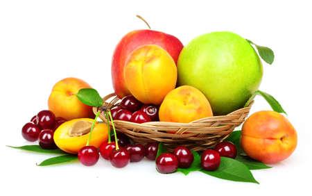 tasty summer fruits isolated on white Stock Photo