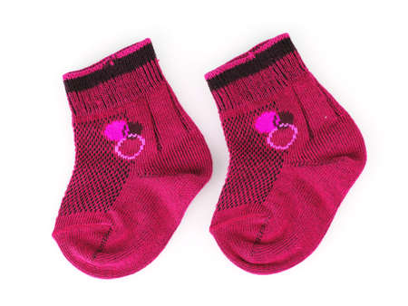 pink baby socks isolated on white Stock Photo - 9999259
