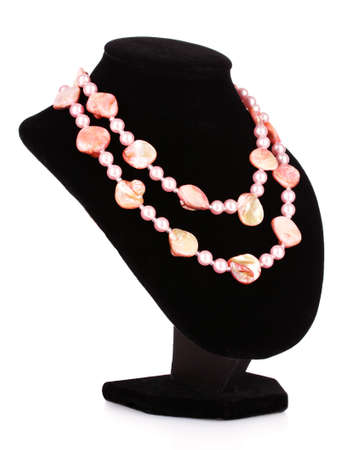pink pearl necklace and shell isolated on white photo