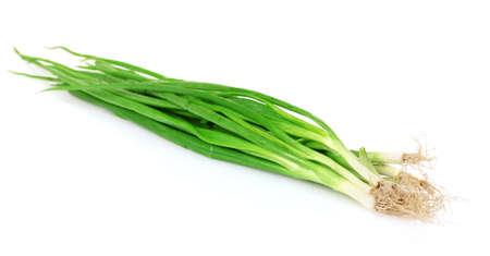 potherbs: cebollas verdes aislados en blanco Foto de archivo